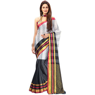 Yuvanika Multicolor Printed Cotton Saree with Blouse-AuSirisha