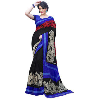 Yuvanika Multicolor Printed Bhagalpuri Silk Saree with Blouse-Fb9602B
