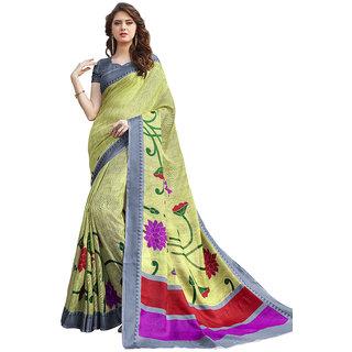 Yuvanika Multicolor Printed Bhagalpuri Silk Saree with Blouse-Fb9603A