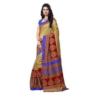 Yuvanika Multicolor Printed Bhagalpuri Silk Saree with Blouse-syuvef000131