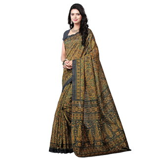 Yuvanika Multicolor Printed Bhagalpuri Silk Saree with Blouse-syuvef000133