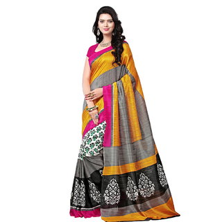 Yuvanika Multicolor Printed Bhagalpuri Silk Saree with Blouse-syuvef000136