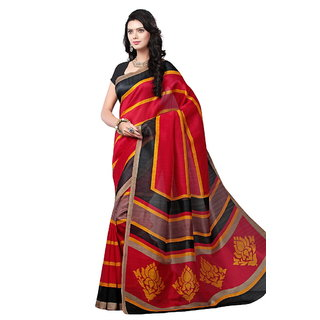 Yuvanika Multicolor Printed Bhagalpuri Silk Saree with Blouse-syuvef000139