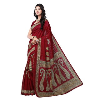 Yuvanika Multicolor Printed Bhagalpuri Silk Saree with Blouse-syuvef000140