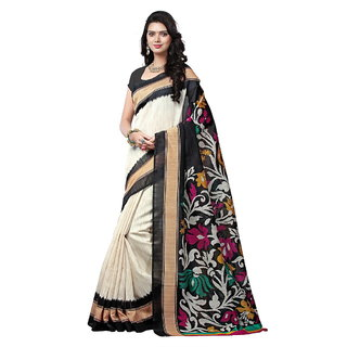 Yuvanika Multicolor Printed Bhagalpuri Silk Saree with Blouse-syuvef000142