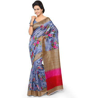 Yuvanika Multicolor Printed Bhagalpuri Silk Saree with Blouse-syuvef000151