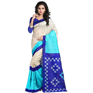 Yuvanika Multicolor Printed Bhagalpuri Silk Saree with Blouse-syuvef000154