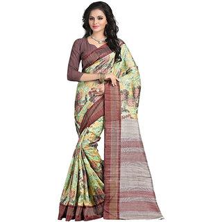 Yuvanika Multicolor Printed Bhagalpuri Silk Saree with Blouse-syuvef000158
