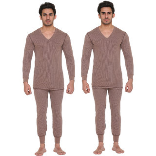 Vimal Blended Brown Thermal Top-Pyjama Set For Men (Pack Of 2)