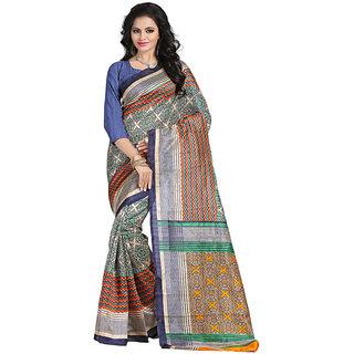 Yuvanika Multicolor Printed Bhagalpuri Silk Saree with Blouse-syuvef000160