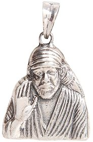 Silverwala 925 Sterling Silver Sai Baba oxidised Pendant for Men and Women