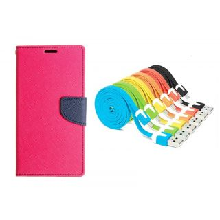 WALLET FLIP CASE COVER FANCY DIARY FLIP CASE COVER For Micromax Canvas Elanza 2 A121 PINK WITH USB SIMILY DATA CABLE