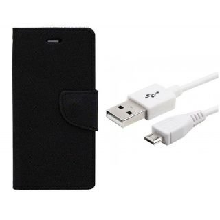 WALLET FLIP CASE COVER FANCY DIARY FLIP CASE COVER For Micromax Canvas Selfie Lens Q345 BLACK WITH USB CABLE