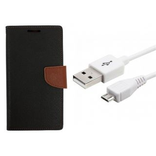 WALLET FLIP CASE COVER FANCY DIARY FLIP CASE COVER For Lenovo A2010 BROWN WITH USB CABLE