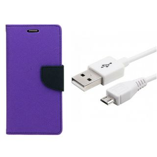 WALLET FLIP CASE COVER FANCY DIARY FLIP CASE COVER For RED WITH USB CABLEmi 2s PURPLE WITH USB CABLE