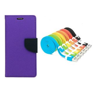 WALLET FLIP CASE COVER FANCY DIARY FLIP CASE COVER For Micromax Yu Yureka AO5510 PURPLE WITH USB SIMILY DATA CABLE