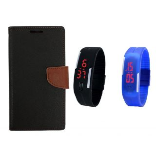 WALLET FLIP CASE COVER FANCY DIARY FLIP CASE COVER For HTC One E9s BROWN WITH DIGITAL WATCH