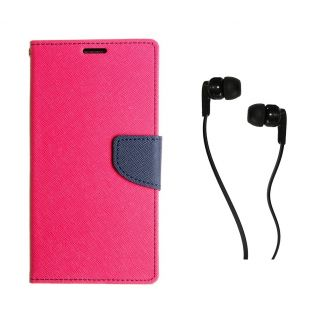 WALLET FLIP CASE COVER FANCY DIARY FLIP CASE COVER For Micromax Bolt A069 PINK WITH EARPHONE