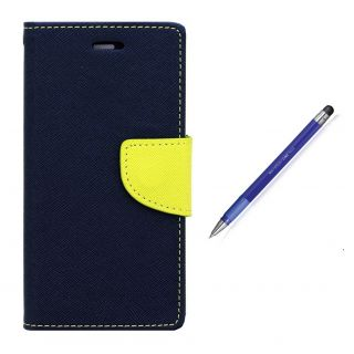 WALLET FLIP CASE COVER FANCY DIARY FLIP CASE COVER For Micromax Canvas Play Q355 BLUE WITH STYLUS PEN