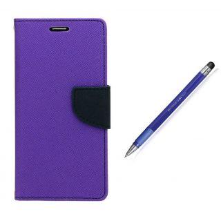 WALLET FLIP CASE COVER FANCY DIARY FLIP CASE COVER For HTC Desire 526 PURPLE WITH STYLUS PEN