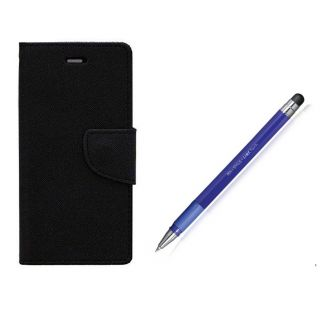 WALLET FLIP CASE COVER FANCY DIARY FLIP CASE COVER For OnePlus One BLACK WITH STYLUS PEN