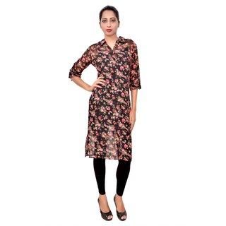 Caitlin Black Floral Georgette Women's Long Shirt