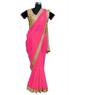 SuratTex Gold & Pink Georgette Embroidered Saree With Blouse
