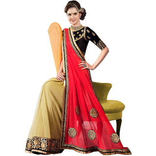 Surat Tex Cream  Pink Color Georgette (60 Gram)  Row Silk Embroidered Party Wear Saree with Blouse Piece-J743SE1508