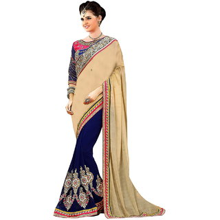 SuratTex Blue & Cream Georgette Embroidered Saree With Blouse
