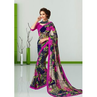 Vistaar Creation Purple  Blue Chiffon Floral Saree With Blouse
