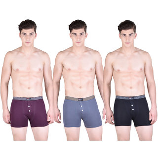 Pack of 3 Dollar Bigboss Men's Premium Multi Colour Stretch Button Trunk