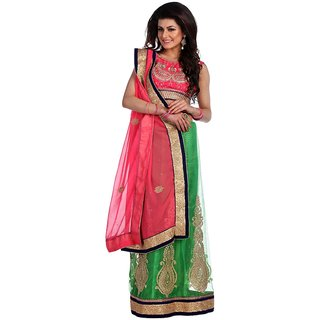 Chhabra 555 Green Net Printed Saree With Blouse