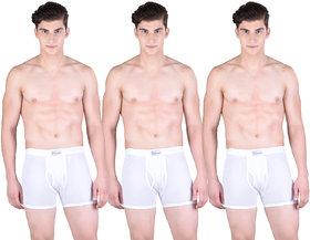 Pack of 3 Dollar Bigboss Men's Premium White Colour Lycra Trunk