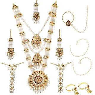 14Fashions by JewelMaze Pearl Austrian Stone Bridal Jewellery Set-PAA1164