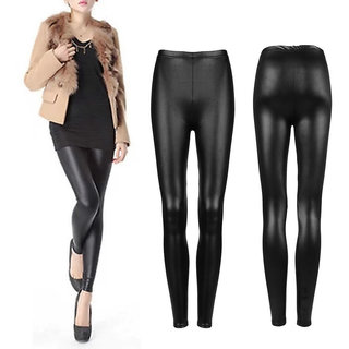 Black Skinny Fit PU leather Coated Jeggings for Women