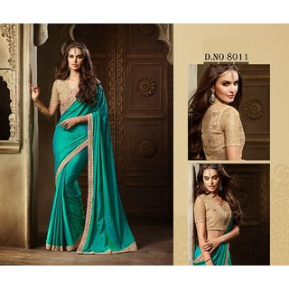Edeal Online Blue And Green Zoya Silk Saree With Golden Banglori Silk Blouse