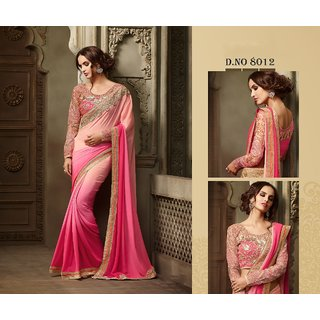 Edeal Online Pink Georgette Saree With Golden Banglori Silk Blouse