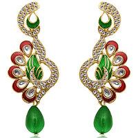 Kriaa by JewelMaze Kundan Maroon And Green Meenakari Austrian Stone Gold Plated Dangle Earrings-AAA0200