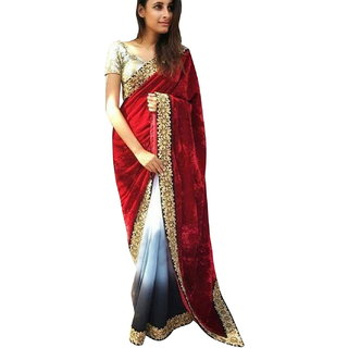 SuratTex Multicolor Velvet Embroidered Saree With Blouse