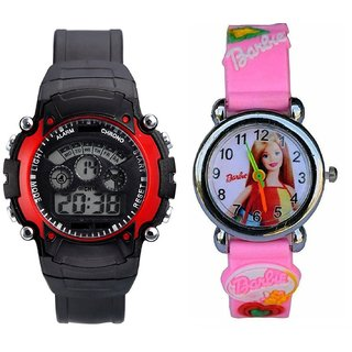 Barbie Pink Analog Watch and Seven Colors Red Watch for Kids