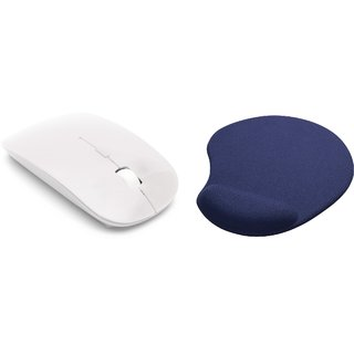 2.4Ghz Ultra Thin Portable Wireless Mouse & Mousepad Combo(White)