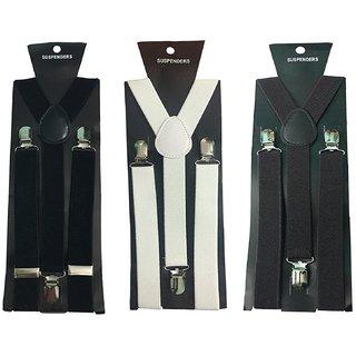 Y- Back Suspenders for Men(Black White Dark Brown Color)