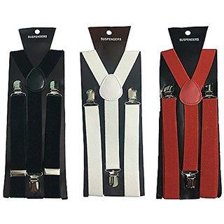 Y- Back Suspenders for Men(Black White Red Color)