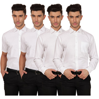 Platinum White Half Sleeve Casual Shirt For Men