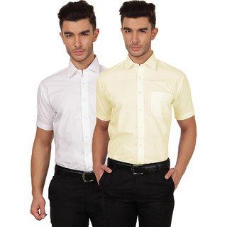 Platinum White Half Sleeve Casual Shirt For Men