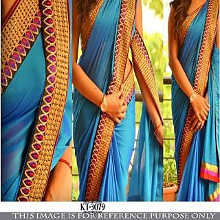 Edeal Online blue georgette bollywood saree