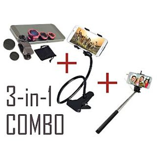 3 IN 1 COMBO OFFER -Universal Mobile lens Lazy holder Monopod selfie stick