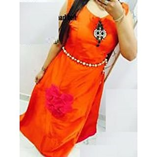 orange  Half Sleeve And Boat Neck Festive Fancy Designer Long Kurti