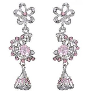 53431d570 Buy Kriaa by JewelMaze Pink Austrian Stone Silver Plated Floral Design  Dangle Earrings-PAA0372 Online - Get 69% Off