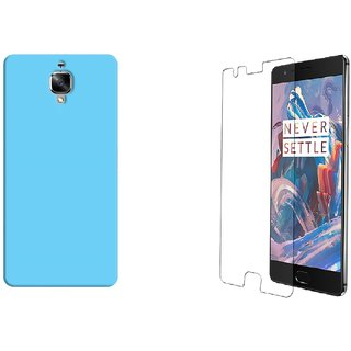 Tempered Glass with Sky Blue Hard Back cover for One Plus 3(1+3)